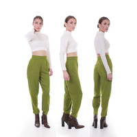 90s Vintage Avacado Green High Waisted Pants Rayon Wool Pleated Tapered Trousers Perfect Fit Retro Minimalist Clothing Women Size XXS XS