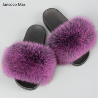 Jancoco Max 2017 Real Fox Fur Slippers Women Fashion Spring Summer Autumn Home Slides Indoor Outdoor Flat  S60 GLOves19
