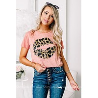 Leopard Lip Crop Top Graphic Tee
