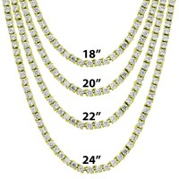 """3mm One Row 18""""-24"""" Gold Finish Rapper Tennis Necklace"""