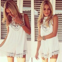 Sleeveless Lace Flower Mini Dress,Sexy Hollow Out Short Dress Women Beach Evening Party Vest Shift Chiffon Dress White LQ4374-in Dresses from Women's Clothing & Accessories on Aliexpress.com | Alibaba Group