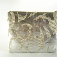 Oversized Canvas Clutch, Silver Glitter Wedding / Cocktail Clutch, Large Wallet for Women, Evening Purse
