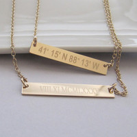 Gold Bar Necklace, Personalized Nameplate Necklace, Roman Numeral Necklace, GPS Coordinates Gift, Longitude Latitude Necklace, Wedding Date