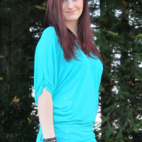 Turquoise V-Neck Solid Knit Tunic