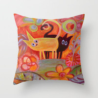 Tails and Cats Throw Pillow by Marianna Tankelevich   Society6