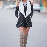 Bring You Home Suede Fur Lined Vest (Black)