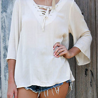 White Crochet Back Lace Up Front 3/4 Sleeve Blouse