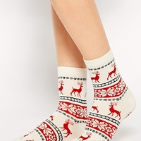 ASOS Reindeer Socks In Christmas Bauble