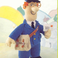 Postman Pat knitting pattern PDF instant download, postman pat, Pat the postman