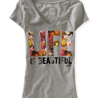 Life is Beautiful Floral V-Neck Graphic T - Aeropostale