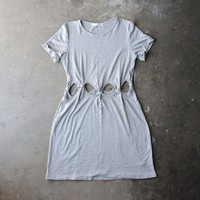 cutout short sleeve dress - grey