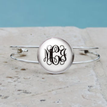 Personalized White with Black Monogram Pendant Necklace, Silver Monogram Cuff Bangle Bracelet, Bridesmaid, Gifts for Her,Accessories,Jewlery