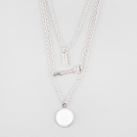 Full Tilt 3 Tier Bar/Arrow/Abalone Disc Necklace Silver One Size For Women 25136514001