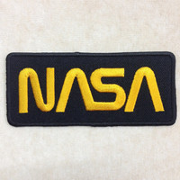 Nasa Iron On Patch #Black with Yellow