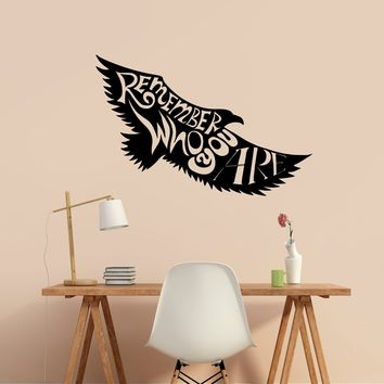 Remember Who You Are Wall Decal Vinyl Sticker Inspiration Quote Home Art Decor Eagle Mural Made in US
