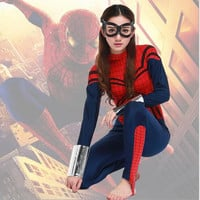 free shipping Sexy blue with red Women's spider Costume sale ,Game cosplay Sexy Halloween Costumes for woman superwoman S-XL