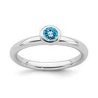 Sterling Silver Stackable Expressions Low 4mm Round Blue Topaz Ring