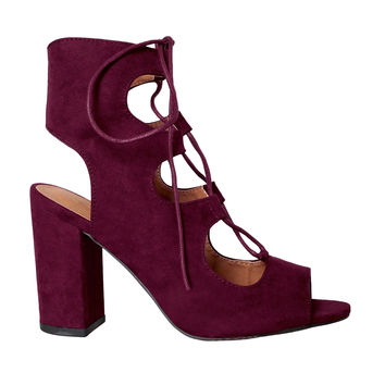 Burgundy Suede Lace-Up Heels