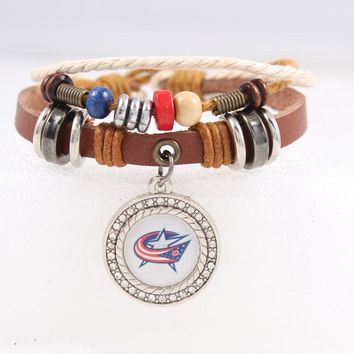 New Leather Bracelets & Bangles for Men and Women Brown Braided Rope Fashion Columbus Blue Jackets Charm Bracelets NHL Jewelry