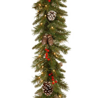 9 Foot by 10 Inch Frosted Berry Christmas Garland