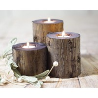 Wood candle Holders, Rustic