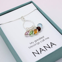 Gift for Nana gift sterling silver necklace with Swarovski birthstones My greatest blessings call me Nana Birthday Mother's Day gift