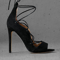 Black Suede Express Edition Lace Up Sandal from EXPRESS