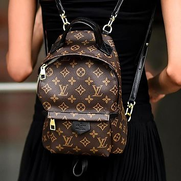 LV Louis Vuitton classic printed letters ladies shopping backpack school bag Daypack