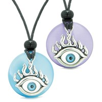 Cool Evil Eye Protection Flames Love Couples or BFF Set Blue Purple Simulated Cats Eye Magic Necklaces