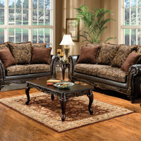 2 Pc. Classic Style Rotherham Cognac Floral Design With Carved Design Wood Trim - Made In The USA