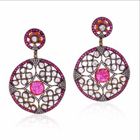Ruby Rose Cut Diamond Dangle Earrings