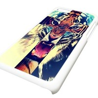 Apple iPhone 5C Hipster Tiger Cross DESIGN Case Cover Skin WHITE HARD PLASTIC Teen Gift Vintage Hipster Fashion Design Art Print Cell Phone Accessories