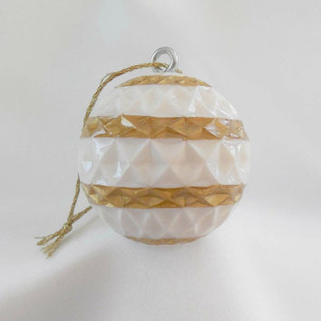 Carved Golf Ball, Christmas Ornament, White and Gold Christmas Ornament, Unique Golf Gift for Men or Women Golfer