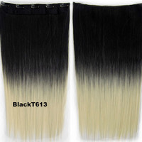 "Dip dye hairpieces New Fashion 24"" Women Clip in on gradient wig Bath & Beauty Hair Ombre Hair Extensions Two Tone Straight hair Gradient Hair Extension Colorful Hairpieces GS-666 Black T613,1PCS"