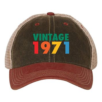 Customize Birth Year Birthday Retro Vintage 6 Panel Unstructured Low Profile Mesh Back Old Favorite Trucker Caps - For Men and Women