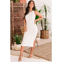Playful Moments French Terry Tank Strap Midi Dress (Oatmeal)
