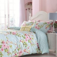 SUPERB COTTON TWIN PINK BLUE ROSE FLORAL REVERSIBLE SHABBY DUVET COMFORTER COVER