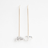 Herkimer Diamond Gold Stick Earrings