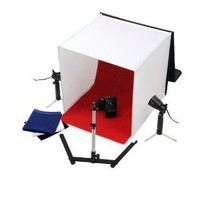 """Fotodiox 24""""x24""""Studio in a Box for Table Top Photography, Light Tent Kit with Four Backdrops, Two Lights, and One Camera Stand"""