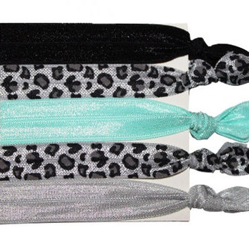 Wild Nights Cheetah Non Damaging Knotted Elastic Hair Tie Bracelet 5 Pack