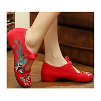 Vintage Chinese Embroidered Ballerina Mary Jane Flat Ballet Cotton Loafer Red for Women in Appealing Floral Design