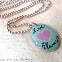 mint green necklace hand painted love always