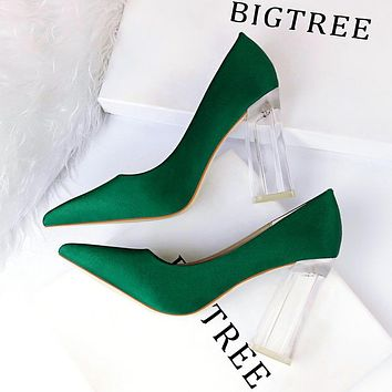 Fashionable transparent crystal heel high-heel satin shallow mouth pointed sexy high-heeled shoes sapphire green