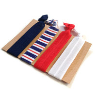 Elastic Hair Ties Nautical Blue Red and White Yoga Hair Bands