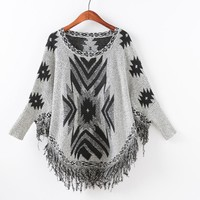 Knit Batwing Sleeve Pullover Scarf Sweater [9101526151]