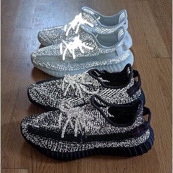 Hipgirls Adidas Yeezy 350 V2 Boots fashion hot couple starry luminous sneakers