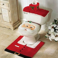 Toilet Seat & Foot Pad & Tissue Box Cover Fancy Warm Santa Toilet Seat Cover Rug Bathroom Set Christmas Decoration = 1946711236