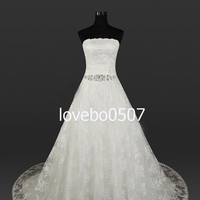 White Wedding Dress Lace Wedding Dress  with Beads and applique Waistband strapless collar custom by order