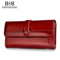 Designer Wallet Genuine Leather Faux Alligator Pattern on Cowhide Women's Purse Three Fold Large Capacity Clutch 7 Colors FREE SHIPPING