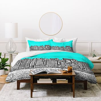 Bird Ave New York Aqua Duvet Cover